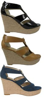 Michael Kors Womens Damita Wedge Black or Tan or Blue Platform Heels