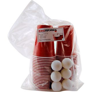 Beer Pong Party Kit 44 Red Plastic Cups 6 Balls