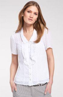 Nanette Lepore Daredevil Swiss Dot Ruffle Shirt