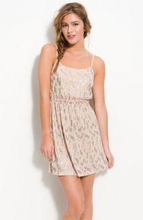 Lush Spaced Sequins Blouson Dress (Juniors)