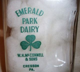 McCONNELL EMERALD PARK DAIRY MILK BOTTLE 1/2 GAL GLASS CRESSON PA