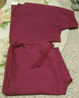 CREST LARGE L BURGUNDY SCRUB SET PANTS TOP SHIRT SHORT SLEEVED UNIFORM