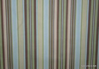 Brown Blues Natural Stripes Cotton Duck Curtain Valance NEW