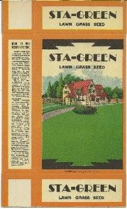 Vintage Unused Box Sta Green Lawn Grass Seed Dalton N Y