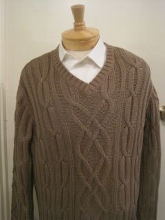 Daniel Cremieux Mens Large V Neck Cableknit Almond Colored Sweater $85
