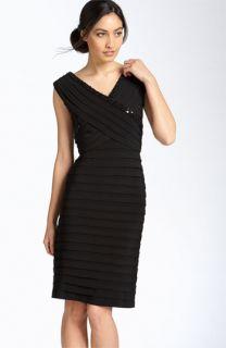 Adrianna Papell Sequined Shutter Pleat Matte Jersey Dress