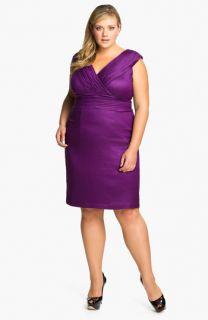 Adrianna Papell Shimmer Surplice Sheath Dress (Plus)