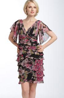Adrianna Papell Flutter Sleeve Tiered Dress