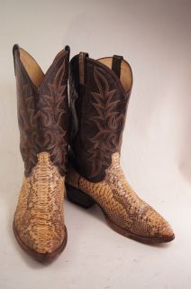 Dan Post Snake Snakeskin Brown 10 5 EW Mens Western Boots
