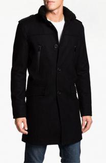 Black Rivet Wool Blend Topcoat