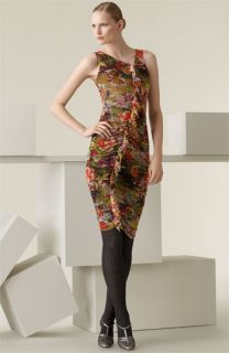 Jean Paul Gaultier Floral Print Ruffle Front Dress