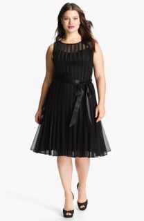Xscape Sleeveless Satin Stripe Mesh Dress (Plus)