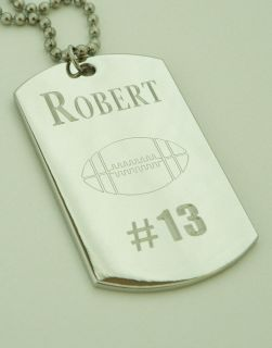 Personalized Dog Tag Pendant Necklace Sports Custom Engraved Kids Gift