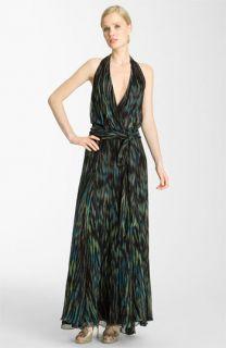 Halston Heritage Belted Print Chiffon Maxi Dress