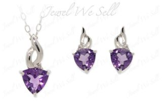 Silver Trillion Cut Amethyst Diamond Earrings & Pendant Set New