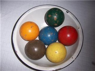 Vintage Primitive Wood Wooden Croquet Ball Balls Set of 6