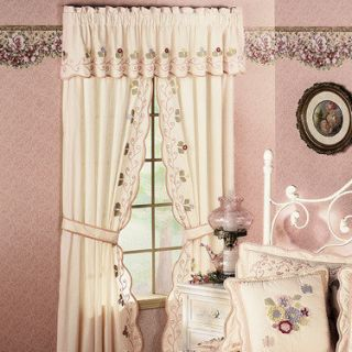 Floral Pastel Tailored Drapes Butterflies Flowers Curtains Valance not