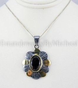50ctw Oval Cut Smoky Quartz 18K/925 Sterling Silver Pendant 7g