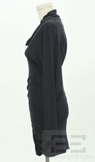 CUT25 Navy Open Back Long Sleeve Ruched Dress Size 2