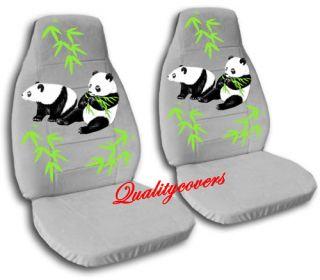 Nice Set Silver Car Seat Covers w Panda Gorgeous Cute