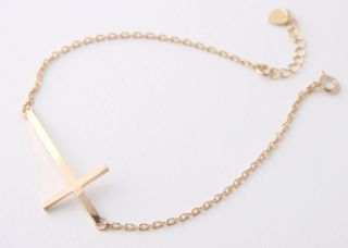 Sideways Cross Bracelet Yellow Gold Horizontal Side Cross