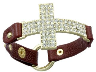 Burgundy Crystal Leather Cross Bracelet Cuff Free Premier SHIP
