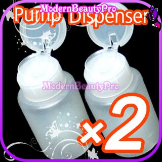 description 2 x nail art pump dispenser for acetone gel polish remover