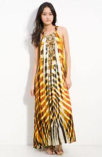 Camilla Sphinx Embellished Print Silk Maxi Dress