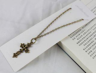 3pcs Antiqued Bronze Cross Pendant Necklaces Free Postage