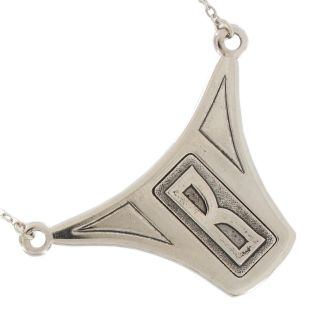 Deco Style Personalized Custom Initial Letter Necklace Silver Plated
