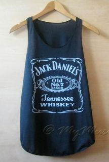 Jack Daniels Print Tank Vest T Shirts Top Ladies Womens Girls New