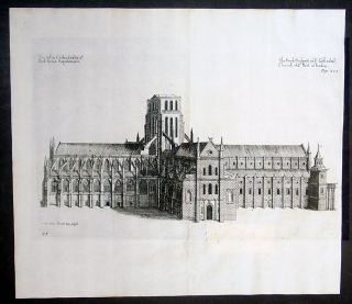 1656 Daniell King Antique Print of Old St Pauls Cathedral London