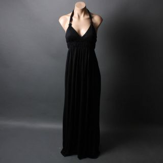Waist V Neck Stretch Beach Summer Jersey Knit Maxi Dress Size L