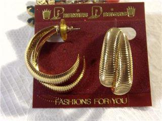 Premier Gold Tone Double Hoop Earrings 1 5 inch U s Seller New