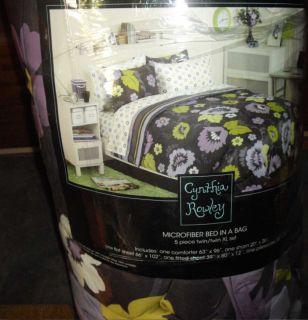 Cynthia Rowley Retro Flower Purple Gray Green Comforter Sheets 5P Set