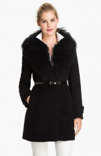 MICHAEL Michael Kors Genuine Lamb Fur Collar Coat