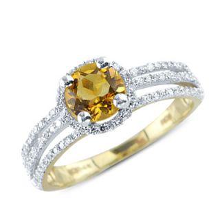 Solitaire Round Cut Citrine Diamond Gemstone Ring in 14k Yellow Gold