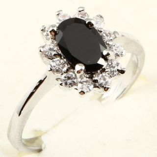 8mm Oval Cut Black Sapphire 85 Cocktail Ring