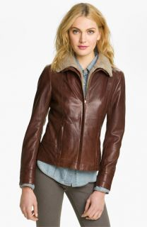 Ted Baker London Leather Jacket with Genuine Shearling Collar