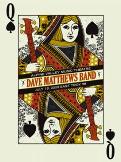 Dave Matthews Band Poster 2009 Alpine East Troy Wi N1 Queen Card 1100