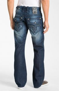 Rock Revival Preston Relaxed Straight Leg Jeans (Dark Blue)
