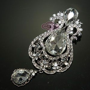 RHINESTONE CRYSTAL DANGLE CROWN VINTAGE STYLE DRESS BUCKLE BROOCH PIN