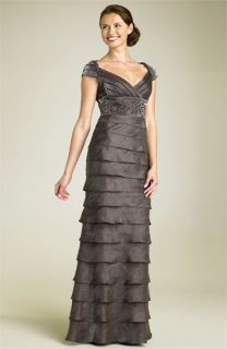 Adrianna Papell Shutter Pleat Gown with Beaded Waist