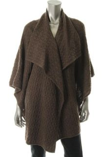 Cynthia Steffe Brown Wool Kimono Drapey Open Front Cardigan Sweater