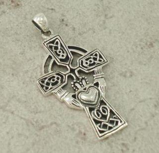 Large Sterling Silver Celtic Claddagh Cross Pendant