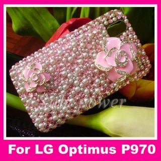 3D Rhinestone Flower Bling Crystal Back Case Cover for LG Optimus