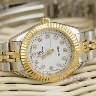 Golden Steel JP Quartz Wrist Watch Crystal Light Classic Watch