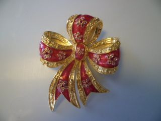 Red Gold Tone Bow Brooch Pin Crystal Flowers on Each Ribbon