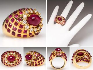 LeVian Estate Natural Ruby & Diamond Cocktail Ring Solid 18K Gold sku