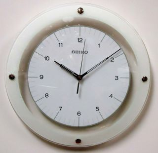 Seiko Round Wall Clock Curved Glass Crystal White Dial